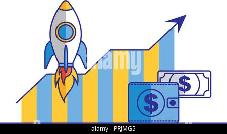 business statistics chart and wallet money - Stock Photo