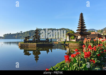 Beautiful Pura Ulun Danu Bratan temple in Bali Indonesia - Stock Photo