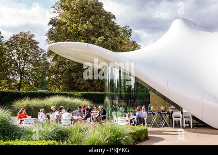 London England United Kingdom Great Britain Chucs Serpentine Sackler Gallery The Magazine restaurant alfresco dining cafe membrane roof architecture Z - Stock Photo
