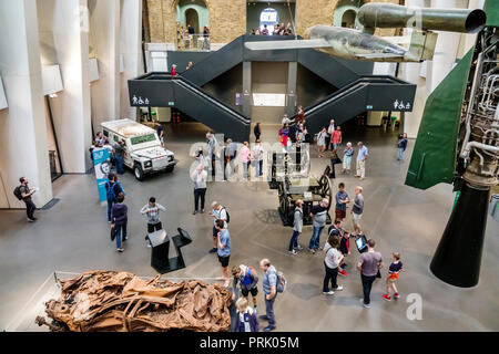 London England United Kingdom Great Britain Southwark Imperial War Museum military war weapons archives inside interior atrium exhibit aircraft vehicl - Stock Photo