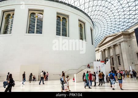 London England United Kingdom Great Britain Bloomsbury The British Museum human culture history interior Great Court central quadrangle glass roof des - Stock Photo