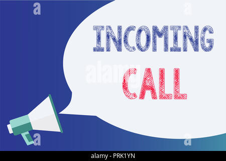 Text sign showing Incoming Call. Conceptual photo Inbound Received Caller ID Telephone Voicemail Vidcall Megaphone loudspeaker speech bubble important - Stock Photo