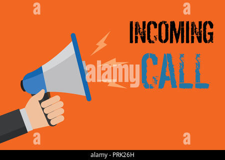 Conceptual hand writing showing Incoming Call. Business photo text Inbound Received Caller ID Telephone Voicemail Vidcall Man holding loudspeaker oran - Stock Photo
