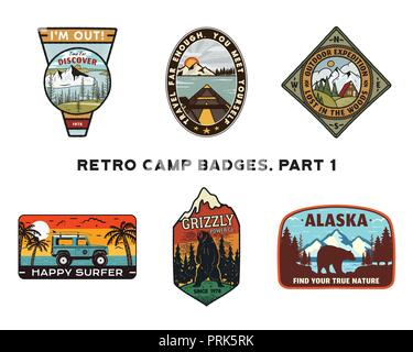 Set of retro Wanderlust Logos Emblems. Vintage hand drawn travel badges. Different camp, forest activities scenes . Included custom adventure quotes. Stock vector hike insignias isolated on white - Stock Photo