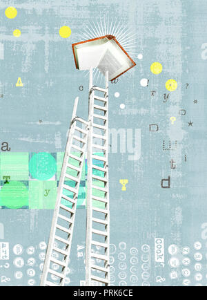 Ladder reaching for book - Stock Photo