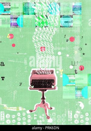 Typewriter typing money - Stock Photo