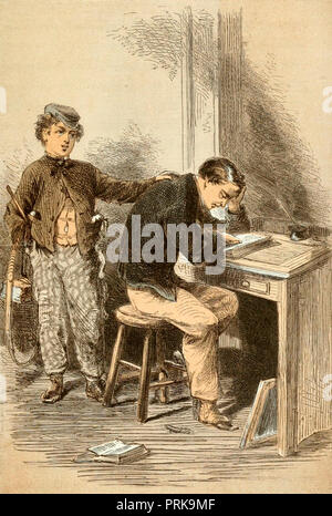 Vintage illustration of boy comforting his father - Stock Photo