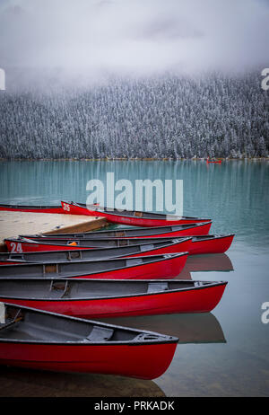 Lake Louise is a glacial lake within Banff National Park in Alberta, Canada. - Stock Photo