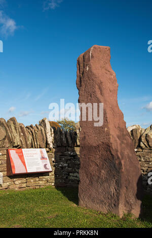 The Crescent Stone, one of three 8th century Pictish stones at the side of the B9134 at Aberlemno, Angus, Angus, Scotland.