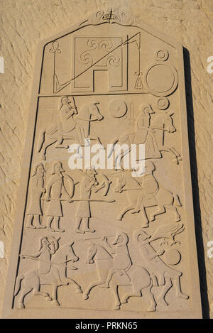 Reproduction of the rear view carving of the Aberlemno Kirkyard Cross Slab Pictish Stone, Aberlemno, Angus, Angus, Scotland.