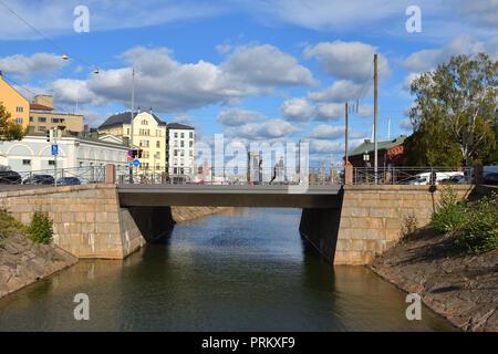 Katajanokka canal and Bridge of Love. Helsinki - Stock Photo