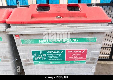 Mixed Recycling Bin at the Campground waste and recycling centre in Wrekenton, Gateshead, England, UK - Stock Photo