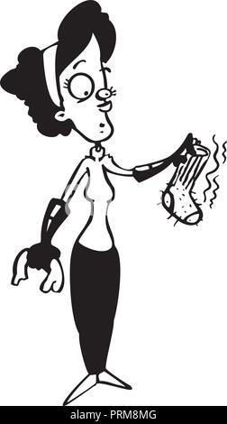housewife cleaning cartoon illustration - Stock Photo