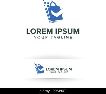 shoping bag logo online with check mark logo design concept template - Stock Photo