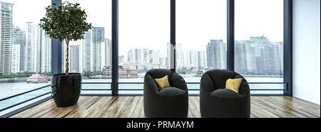 Side view of two small cushioned chairs next to tiny tree in reflective black pot with large windows revealing cityscape in background. 3d rendering - Stock Photo