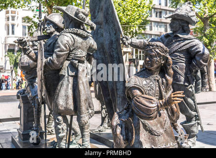 Bronze-cast sculpture of little girl from Rembrandt's most famous painting, the Night Watch - Stock Photo