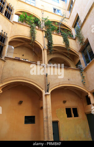 Historical building and old Lyon. Traboule. The Vieux Lyon is the largest Renaissance district of Lyon in the 5th arrondissement, France - Stock Photo