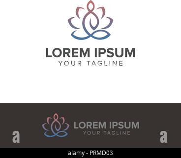 Yoga meditation logo vector illustration isolated on white background - Stock Photo