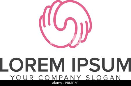 Hand pink round vector logo. Global communication. Helpful people. Round shape. Support illustration. - Stock Photo