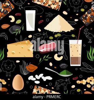 Sports and healthy eating nutrition seamless pattern. Animal and vegan protein food - Stock Photo
