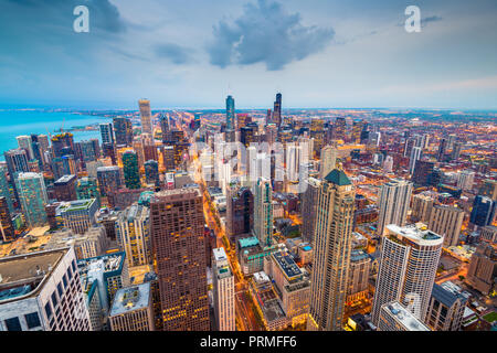 Chicago, Illinois USA aerial skyline after sunset. - Stock Photo