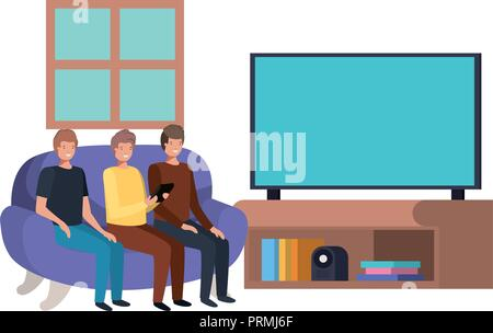 young men seated in the sofa watching tv - Stock Photo