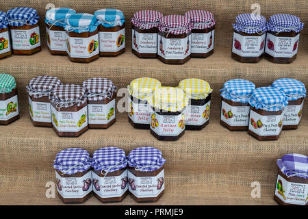 Moonraker Preserves. Artisan jam and chutney display stand at the Thame food festival. Thame, Oxfordshire, England - Stock Photo