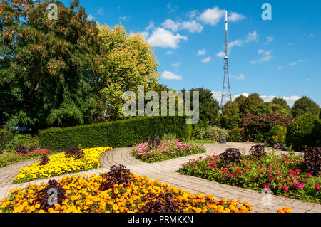Crystal Palace TV aerial seen over colourful flower beds in Crystal Palace Park. - Stock Photo