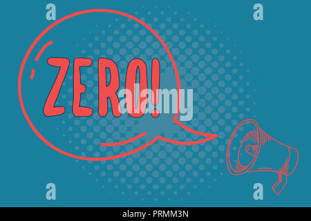 Word writing text Zero. Business concept for no quantity or number nought Nothing None Origin point on sketch. - Stock Photo