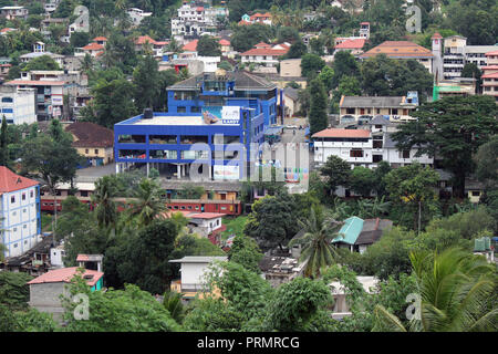 Translation: Around Kandy hill in the cloudy morning and a train passing by. Taken in Sri Lanka, August 2018. - Stock Photo