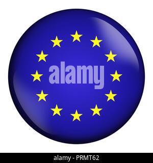 circle icon, flag of European Union isolated on white background. - Stock Photo