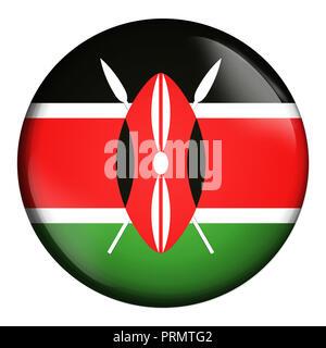 circle icon, flag of Kenya isolated on white background. - Stock Photo