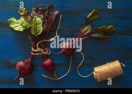 Pile of homegrown organic young beets with green leaves on dark blue wooden table. Fresh harvested beetroots on blue black background. Top view. - Stock Photo
