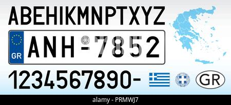 Greece car license plate, letters, numbers and symbols - Stock Photo