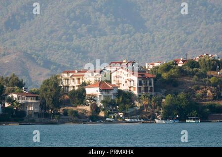 Large homes on Megri Island - Fethiye Adasi in Fethiye, Turkey - Stock Photo