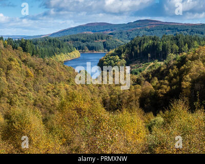Looking down to Loch Drunkie from The Dukes Pass, a high level route through the Trossachs in the Scottish Highlands in full autummn or Fall colours - Stock Photo