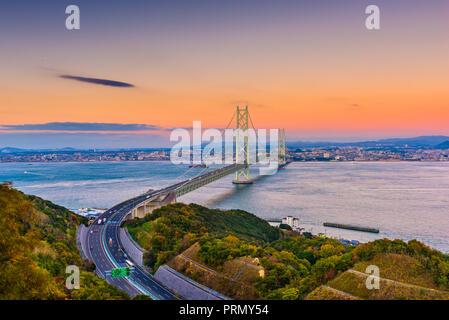 Awaji Island, Japan view of the Akashi Kaikyo Ohashi Bridge spanning the Seto Inland Sea to Kobe. - Stock Photo
