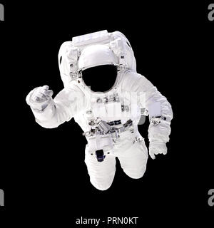 Astronaut in spacesuit close up isolated on black background. Spaceman in outer space. Elements of this image furnished by NASA - Stock Photo