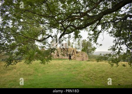 The Ruins of Pendragon Castle in The Yorkshire Dales National Park - Stock Photo