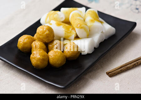 Food curry fish balls with Steamed Vermicelli Roll - Stock Photo
