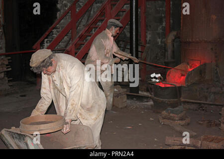 Reconstruction display of metal casting at the National Slate Museum, Dinorwic Quarry, Llanberis, Wales, UK - Stock Photo