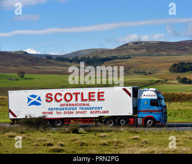 Scotlee International Refrigerated Transport, Irvine, Scotland HGV. M6 Northbound carriageway, Shap, Cumbria, England, United Kingdom, Europe. - Stock Photo