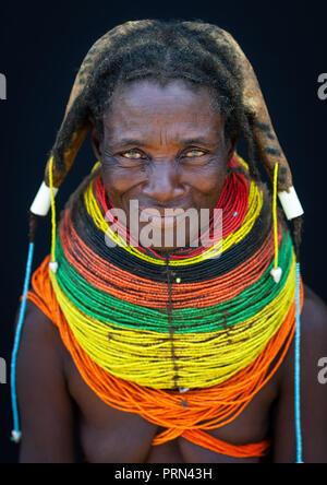 Portrait of a Mumuhuila tribe woman, Huila Province, Chibia, Angola - Stock Photo