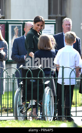 Brighton UK 3rd October 2018 - The Duchess of Sussex arrives at the Royal Pavilion in Brighton today as part of their first visit to the county where they have been to Chichester and Bognor as well as Brighton Credit: Simon Dack/Alamy Live News - Stock Photo