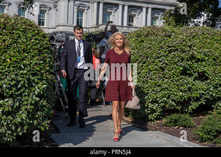 Washington, United States Of America. 03rd Oct, 2018. WASHINGTON, DC: Kellyanne Conway, Counselor to President Donald Trump walks after a television interview at the White House on October 3, 2018. Credit: Tasos Katopodis/CNP | usage worldwide Credit: dpa/Alamy Live News - Stock Photo