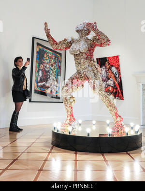 London, UK, 3rd Oct 2018. A centrepiece of South African artist Athi-Patra Ruga's exhibition 'Of Gods, Rainbows and Omissions' is the sculpture 'At the End of The Rainbow, We Look Back..'. 1-54 Contemporary African Art Fair, showing art from Africa and its diaspora, launches its sixth London edition at Somerset House  from Oct 4th onwards. - Stock Photo