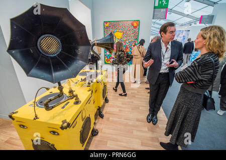 Regents Park, London, UK. 3rd Oct 2018. Gramaphone by Osgemeos in Lehman Maupin  - The Frieze Art Fair in Regents Park. It remains open till 7 Oct 2018.  Credit: Guy Bell/Alamy Live News - Stock Photo
