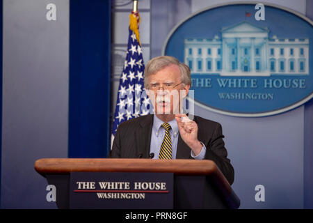 Washington, United States Of America. 03rd Oct, 2018. WASHINGTON, DC: John Bolton, National Security Advisor of the United States speaks during a briefing at the White House on October 3, 2018. Credit: Tasos Katopodis/CNP | usage worldwide Credit: dpa/Alamy Live News - Stock Photo