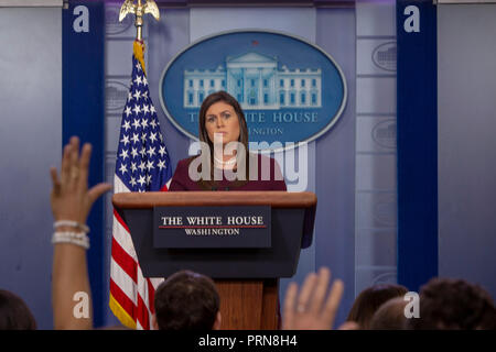 Washington, United States Of America. 03rd Oct, 2018. WASHINGTON, DC: White House spokesperson Sarah Huckabee Sanders speaks during a briefing at the White House on October 3, 2018. Credit: Tasos Katopodis/CNP | usage worldwide Credit: dpa/Alamy Live News - Stock Photo
