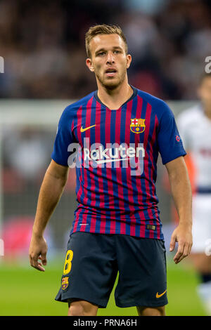 Wembley Stadium, London, UK. 3rd Oct 2018. Arthur of Barcelona during the UEFA Champions League Group Stage match between Tottenham Hotspur and Barcelona at Wembley Stadium, London, England on 3 October 2018.  Editorial use only, license required for commercial use. No use in betting, games or a single club/league/player publications. Credit: UK Sports Pics Ltd/Alamy Live News - Stock Photo